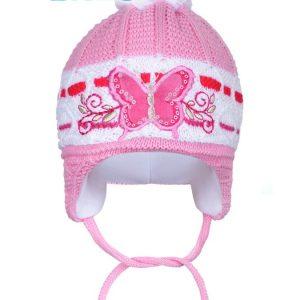d50fa1e6d Zimná detská čiapočka New Baby motýlik tmavo ružová 80 (9-12m)